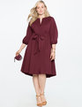 Tie Front Easy Dress with Puff Sleeve MERLOT