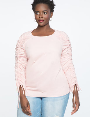 Ruched Sleeve Top with Pearls