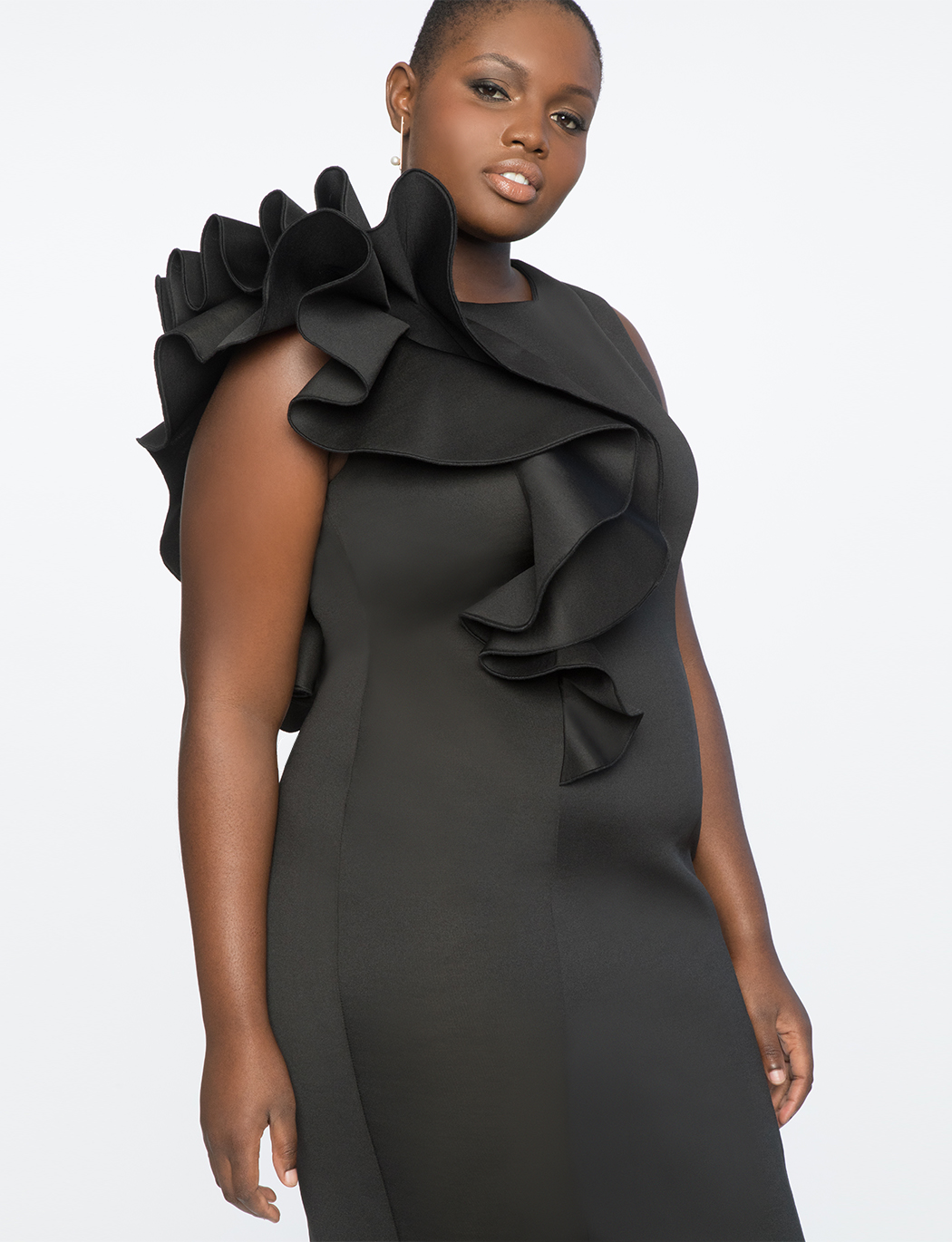 Ruffle Shoulder Dress