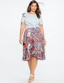 Studio Double Ruffle Skirt Graphic Print