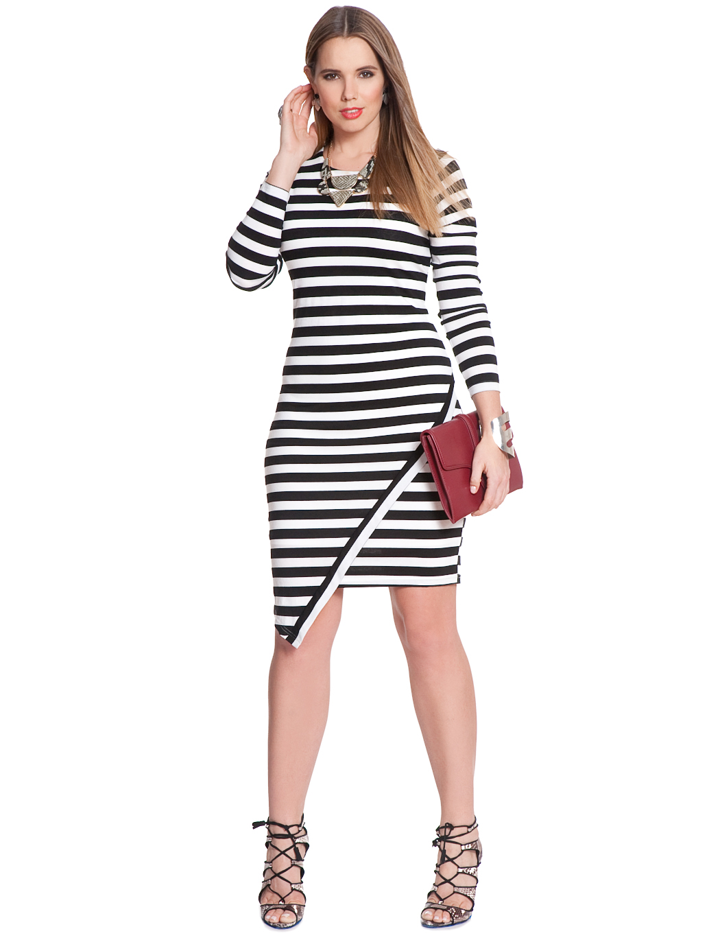 Asymmetrical Hem Striped Dress