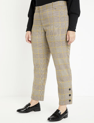 Plaid Button Detail Pant