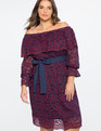 Studio Off the Shoulder Lace Overlay Dress Red + Navy