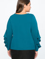 Ruffle Sleeve Top BLUE CORAL