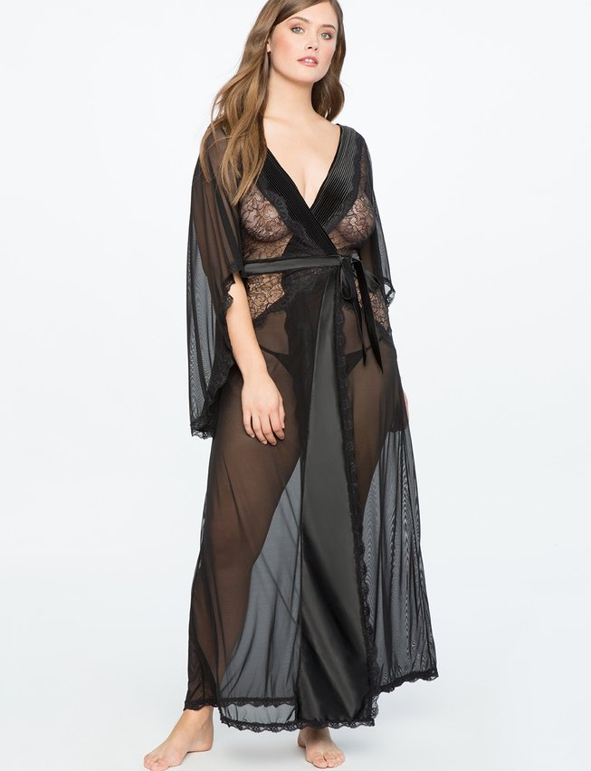 Sheer Dressing Gown | ELOQUII