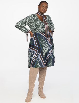 Mixed Print Fit and Flare Dress