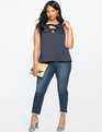 Studio Bow Front Trapeze Top Navy