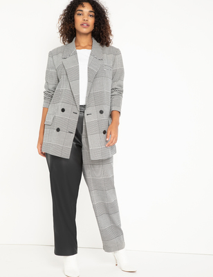 Blocked Faux Leather and Plaid Pant