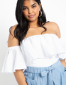 Drama Off the Shoulder Top White