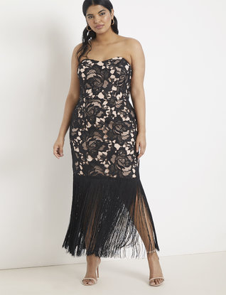 Strapless Lace and Fringe Dress | Women\'s Plus Size Dresses | ELOQUII