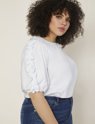 Puff Ruffle Sleeve Top