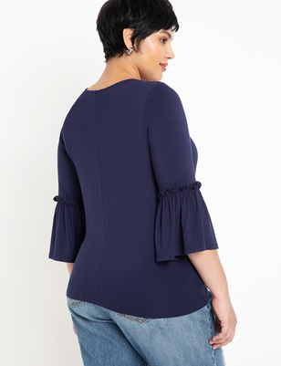 Flare Sleeve V Neck Top