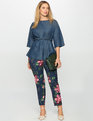 Kady Fit Printed Crepe Pant Navy Pansy Play