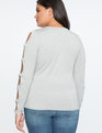 Cutout Detail Long Sleeve Top Heather Grey