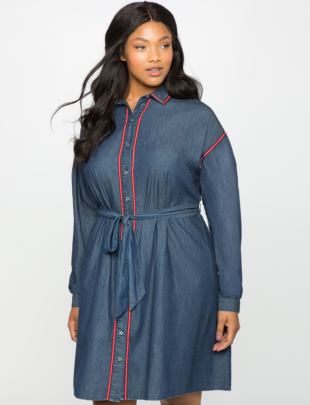 Dolman Sleeve Chambray Shirt Dress | Women\'s Plus Size Dresses ...