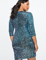 V-Neck Sequin Sheath Dress PINK/BLUE SEQUIN