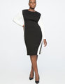 Colorblock Shift Dress with Slit Black + White
