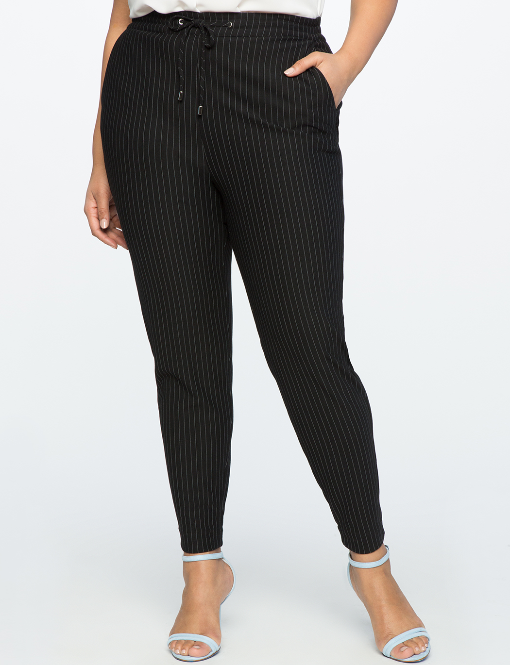 Pull On Pinstripe Trouser | Women\'s Plus Size Pants | ELOQUII