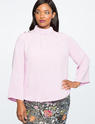 Asymmetric Collar Blouse with Button Detail