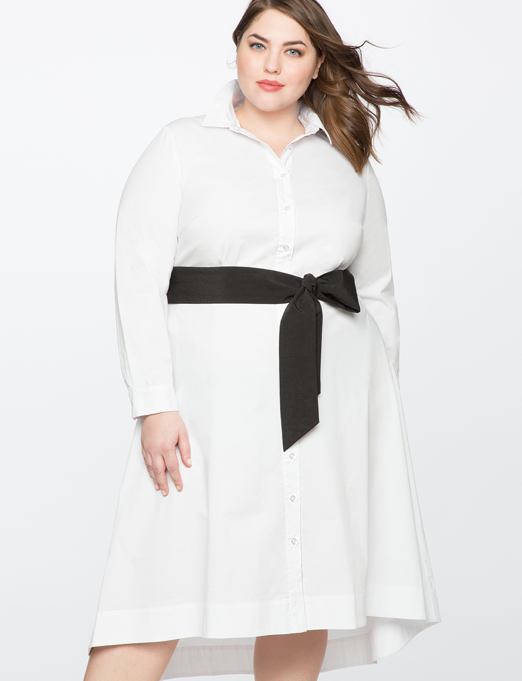 High Low Shirt Dress with Contrast Belt | Women\'s Plus Size Dresses |  ELOQUII