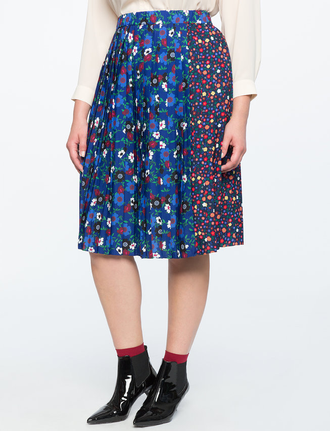 Mixed Floral Pleated Midi Skirt