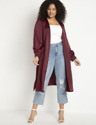 Satin Duster with Puff Sleeves