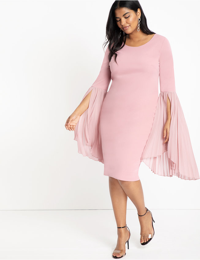 Pleated Flare Sleeve Dress