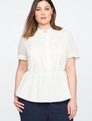 Teresa for ELOQUII Lace Yoke Peplum Top