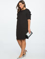 Slit Sleeve Dress with Bow Detail BLACK