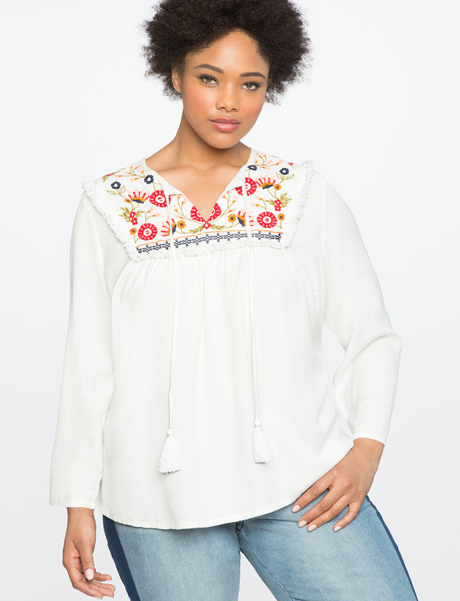 Embroidered Tassel Detail Blouse