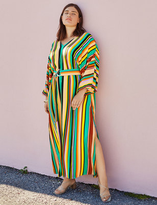 Striped Belted Maxi Dress