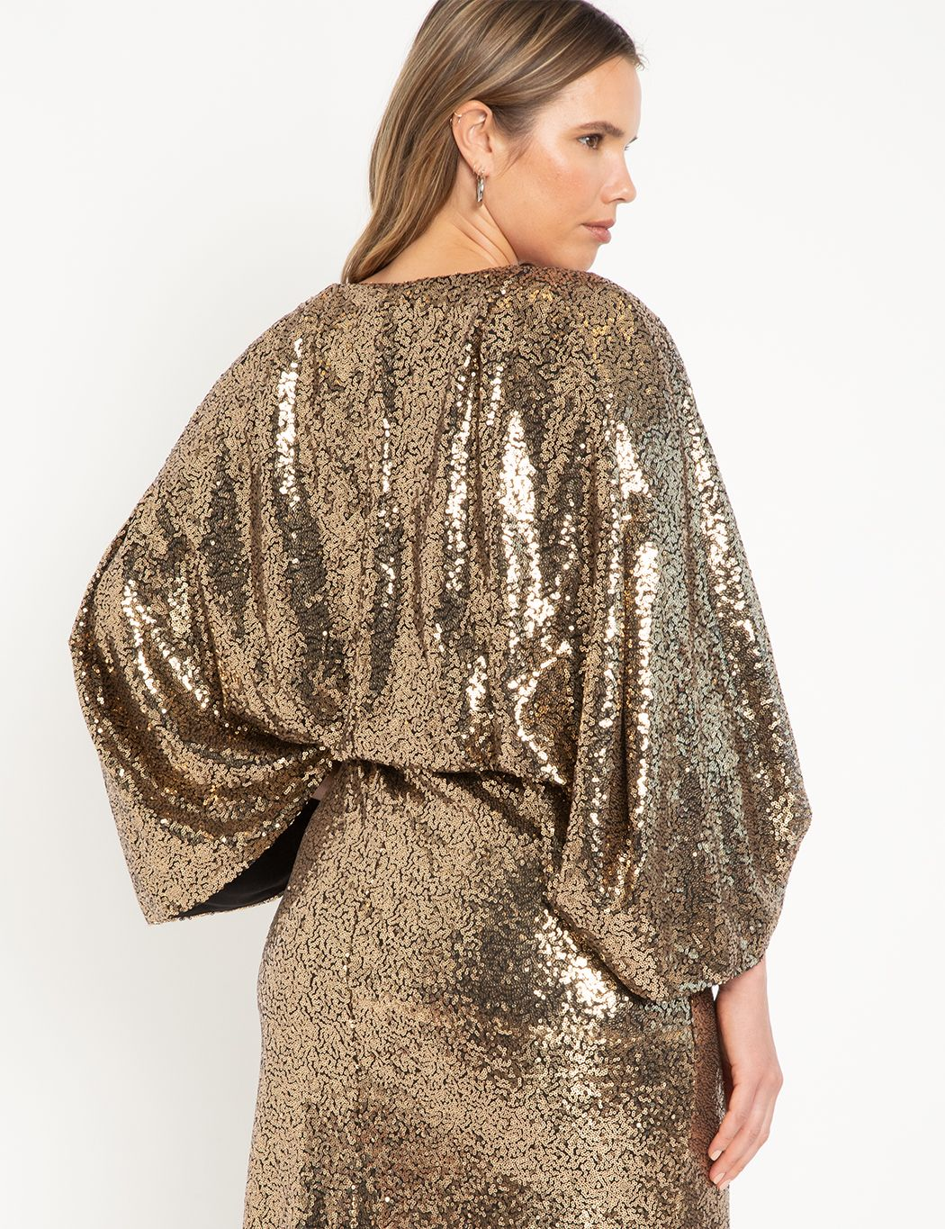 Cape Sequin Midi Dress