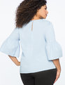 Pearl Detail Flare Sleeve Top Blue Fox