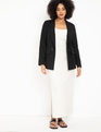 Long Button Detail Blazer Black