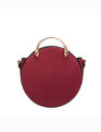 Round Handbag with Studs Burgundy