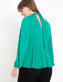 Keyhole Mock Neck Peplum Top Ultramarine Green