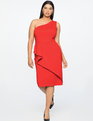 Jason Wu X ELOQUII Asymmetrical One Shoulder Dress Barbados Cherry
