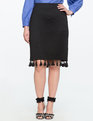 Pencil Skirt with Tassel Hem