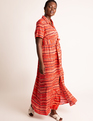 Button Front Cuff Maxi Dress Stripe
