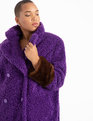 Boucle Coat with Fur Cuffs Bloom Berry + Brown Cuffs