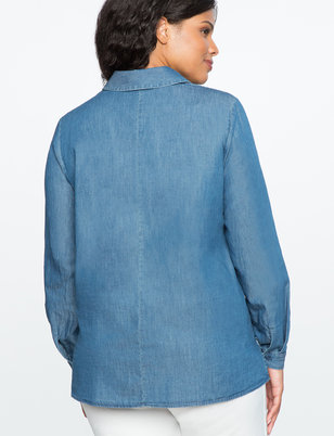 Chambray Top with Ruffle Detail
