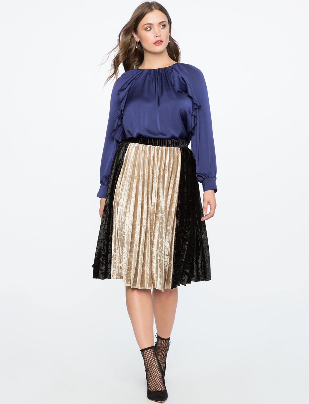 Pleated Velvet Midi Skirt with Color Block Detail