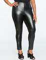 Miracle Flawless Faux Leather Front Leggings Totally Black