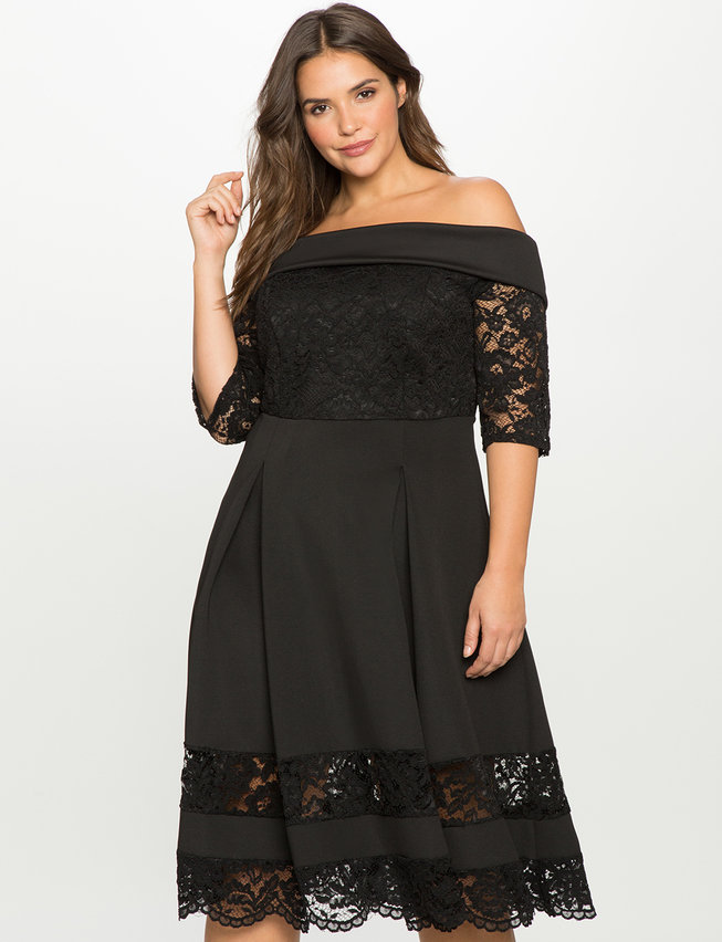 Off The Shoulder Lace Detail Fit And Flare Dress Womens Plus Size