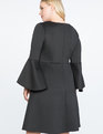 Flare Sleeve Fit and Flare Dress Totally Black