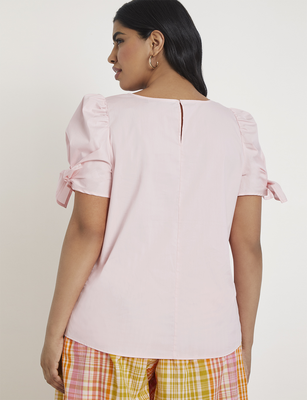 Puff Sleeve Tie Top