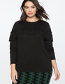 Ruffled Yoke Long Sleeve Tee Totally Black