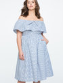 Off the Shoulder Dress with Ruffle Overlay Blue + White