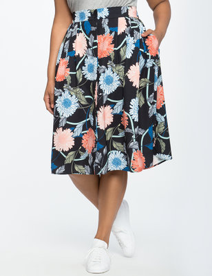 Button Down Pleated Midi Skirt