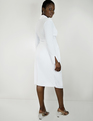 Tie Waist Dress with Collar True White